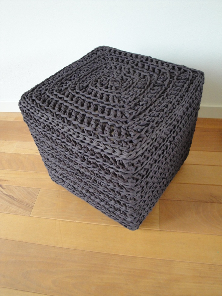 Pouf made from T-shirt yarn with a basic granny square pattern :)