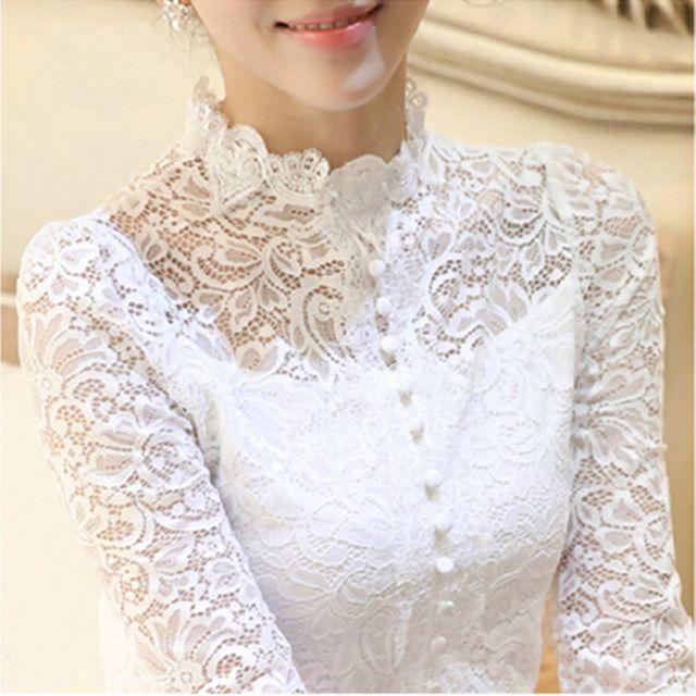 Новый 2016 осень Большой размер женщины ретро крючком блузка кружева отвесные рубашки вершины для женской одежды Vestidos Blusas Femininas блузки