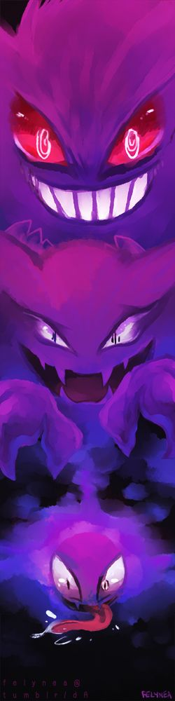 Pokemon - Ghost trio, Ghastly, Haunter, and Gengar