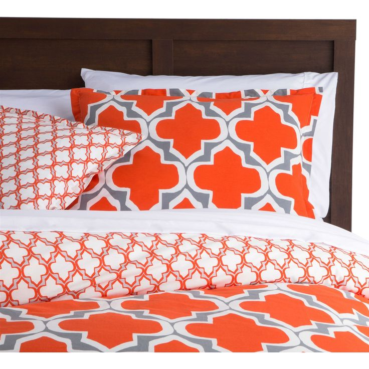 Full/Queen Orange Gray Fresh Start 3 Piece Comforter Set