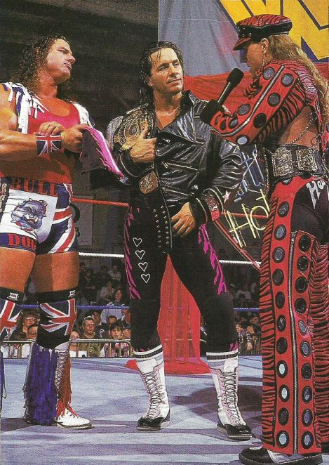 """The British Bulldog"" Davey Boy Smith, Bret ""Hitman"" Hart, and Shawn Michaels  There is so much talent in this picture!"