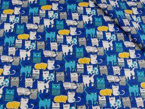 Tkanina bawełniana -Małe kotki na niebieskim 516