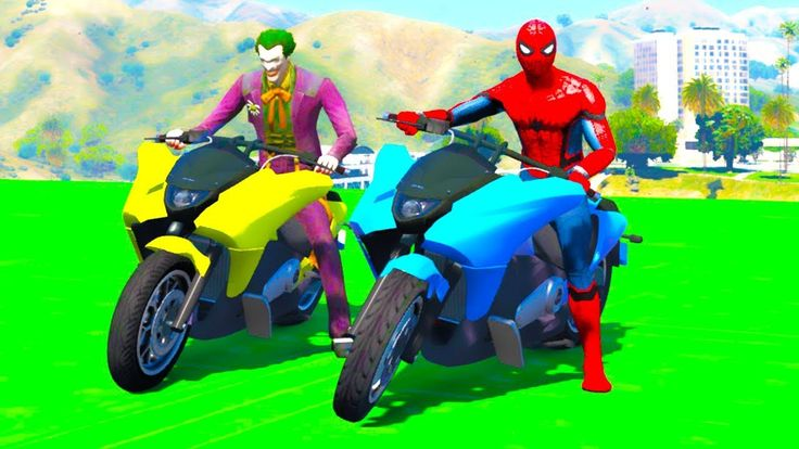 Color motorcycles  for babies with superheroes and Nursery rhymes songs