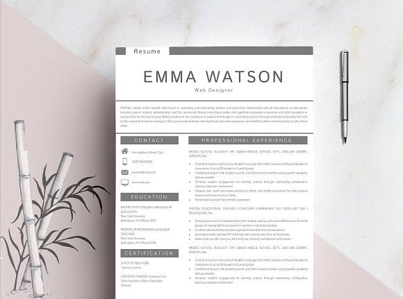 Resume template + FREE Cover Letter by Quality Resume on @creativemarket