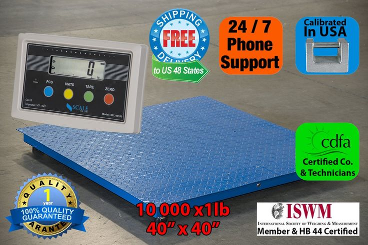 "Heavy Duty 6000lbx0.5lb 40""x40"" Floor Scale / Pallet Scale / Shipping Scale with Indicator. High capacity 6000lb at accuracy at 0.5lb in full range. Sturdy structure with four quality load cells. 16 different weighing units including lb, kg, oz...programmable. 15ft cable between the scale and the indicator. One year warranty."