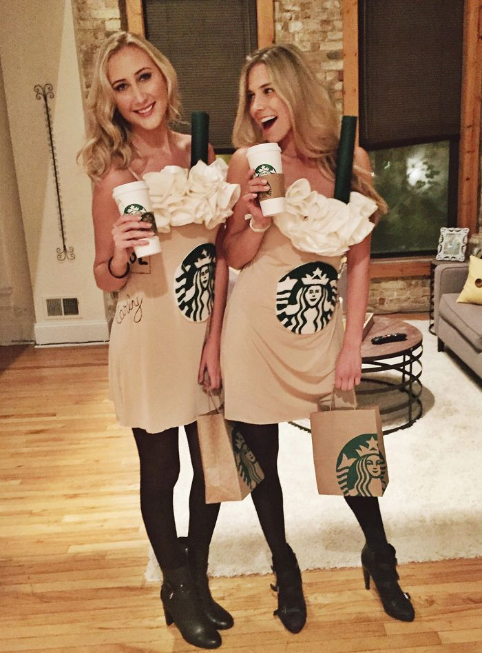 A tan slip dress, green and white felt, ivory-colored fabric, and a paper towel roll painted green is all you and your #squad need to go as fall's favorite order: Pumpkin Spice Lattes    - Delish.com