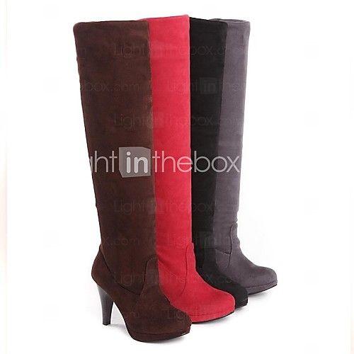 Chaussures Femme - Décontracté - Noir / Marron / Rouge / Gris - Talon Cône - Bottes d'Equitation - Bottes - Daim - CAD $55.59