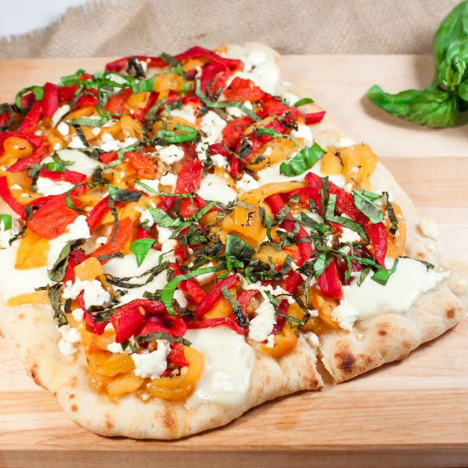 Roasted Pepper and Goat Cheese Flatbread | Home Sweet Jones