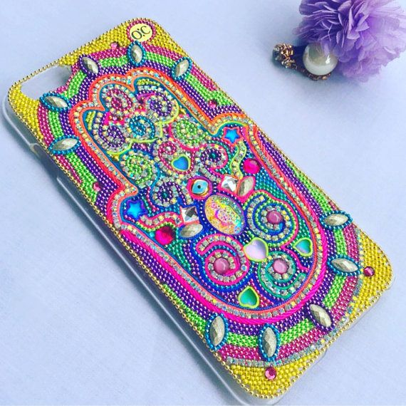 iPhone 6 Plus Case - Hamsa Hand - Handmade - Smartphone Case - Colorful - Samsung S6 - Luxury Phone Case - Swarosvki