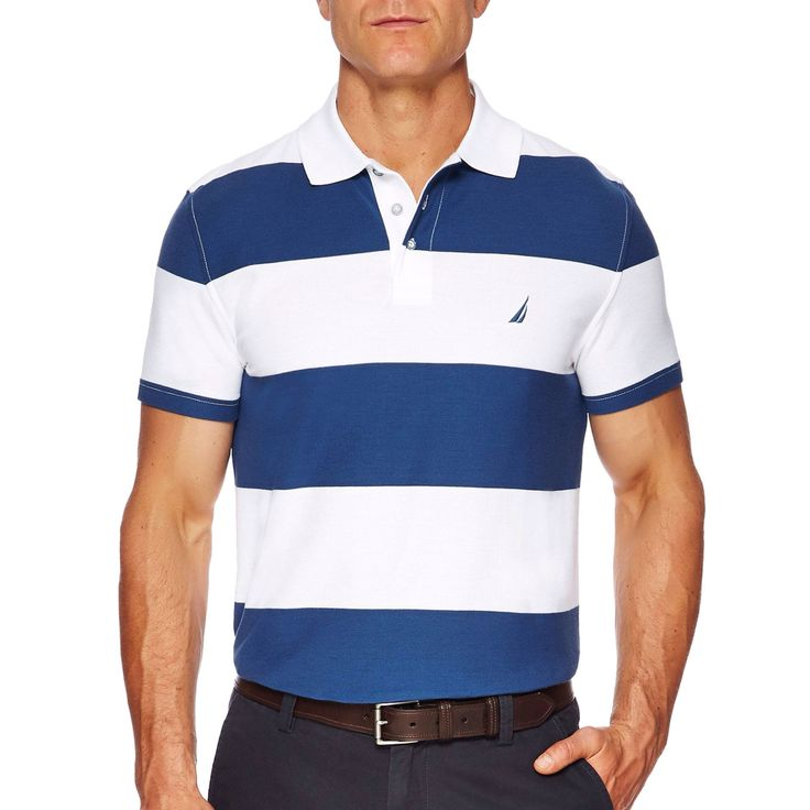 NAUTICA ss rugby stripe polo in Blue