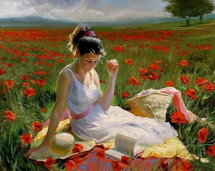 Αποτέλεσμα εικόνας για pretty woman reading a book in painting