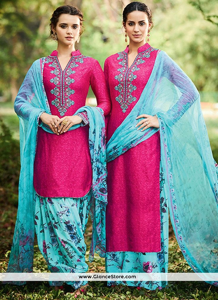 Ethnic Cotton Satin Aqua Blue And Pink Designer Suit