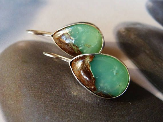 Chrysoprase silver earrings dangle earrings everyday wear