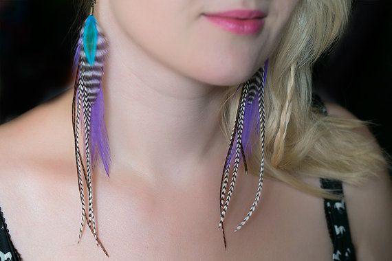 Boho chic feather earrings, long earrings, natural feather earring, boho earring, bohemian jewelry, feather hair extension, hippie fashion