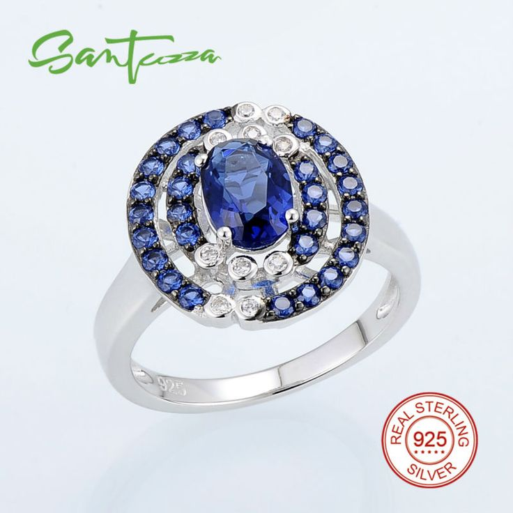 Silver Ring for Women Blue Stone Cubic Zirconia CZ Stone Women Ring Pure 925 Sterling Silver party Fashion Jewelry