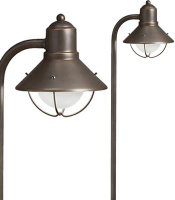 14 best low voltage landscape lighting images on pinterest kichler seaside path light traditional marine lantern design for well shielded illumination in olde brick or olde bronze finish available in low voltage aloadofball Choice Image
