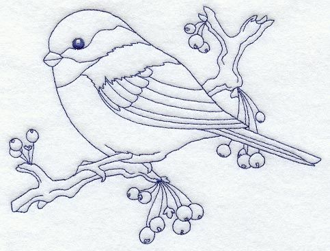 Machine Embroidery Designs at Embroidery Library! - Chickadee (Bluework)