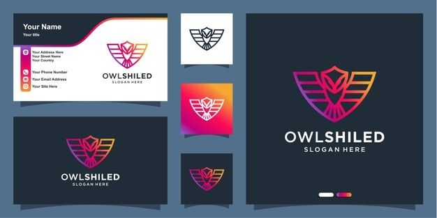 Owl Logo With Modern Shield Line Art Style And Business Card Design Template Business Card Template Design Business Card Design Business Card Set