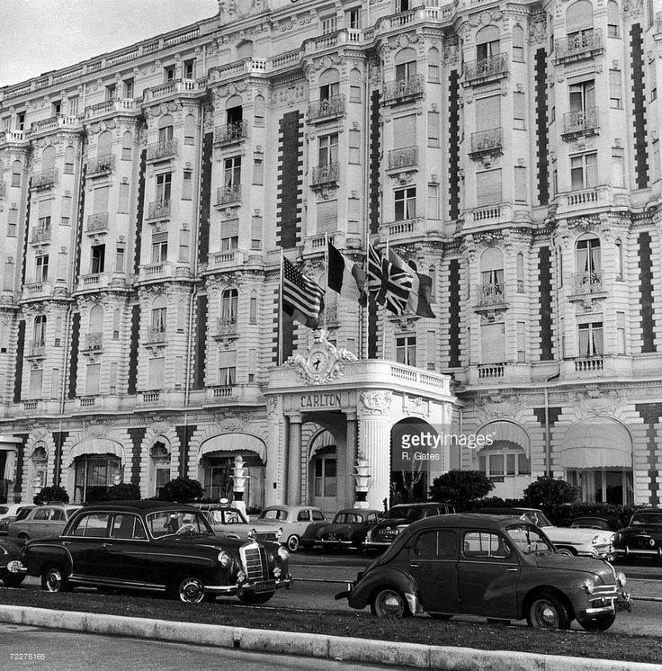 The facade of the luxury Carlton Hotel (later the Carlton Inter-Continental) in Cannes, circa 1960.