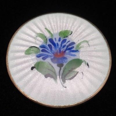 Flower Pin Vintage Sterling Silver Enamel Ivar Holt Norway