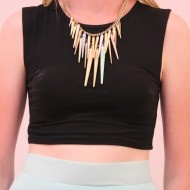 Pastel and Gold Spike Necklace $12