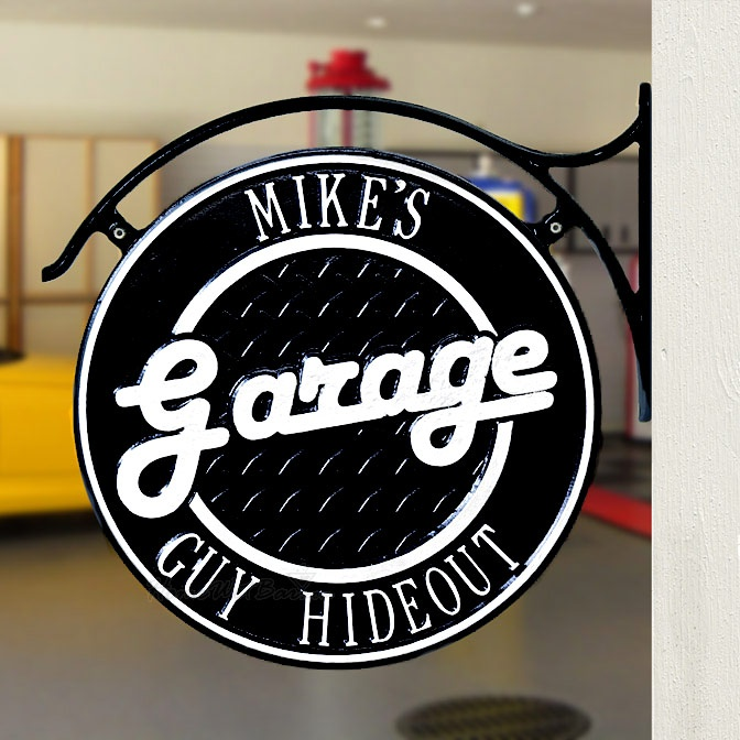 Dual-Sided Personalized Garage Hanging Wall Plaque - Great Gifts for Men