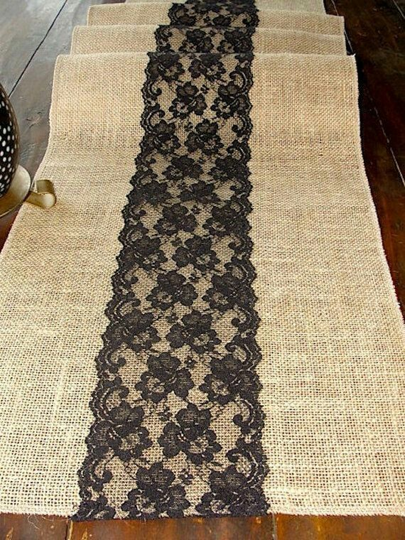 Burlap and black lace table runner
