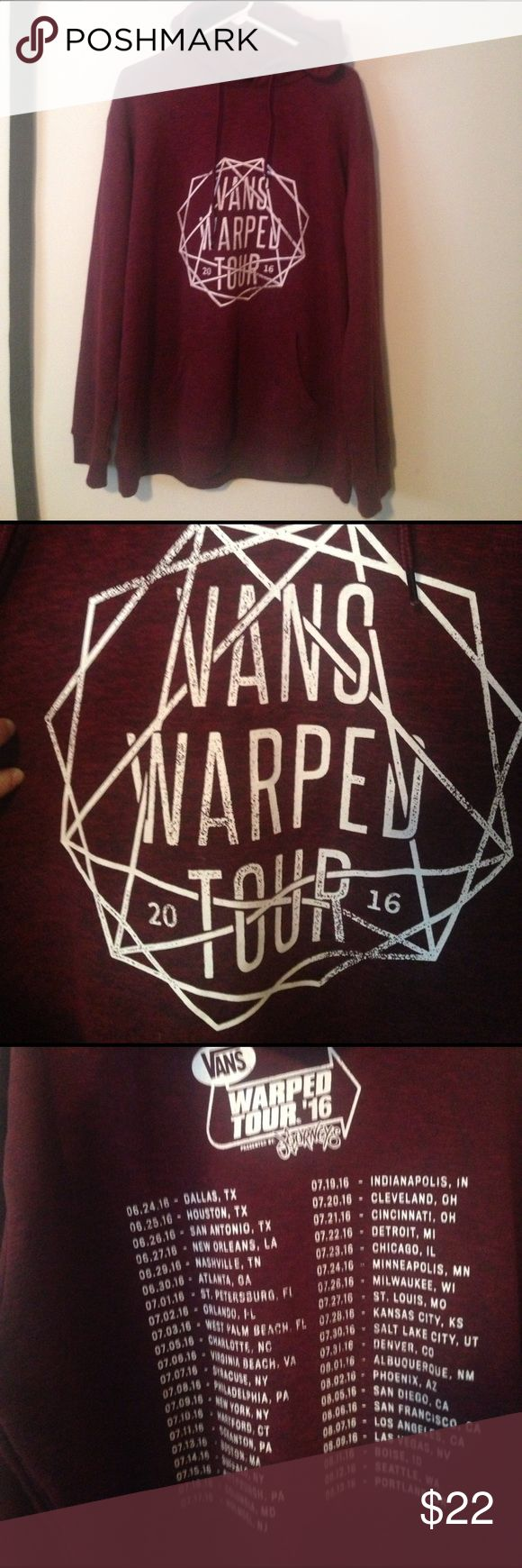"Brand New Vans Warped Tour 2016 Hoodie!!!! This is a brand new, NEVER WORN, XXL burgundy unisex hoodie purchased for $40 at the 2016 Vans Warped Tour in Camden, NJ. The color in the picture is very true to life and it has what is usually called a ""heathered"" look. It has a drawstring hood and cozy kangaroo-pouch pocket. No flaws, never worn, and cannot be found in online merch stores. Show your Warped cred before this year's fest even starts! Regret not picking one up last year? Well now you…"