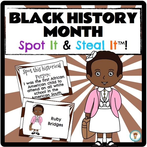$ Black History Month Spot It & Steal It game. Teach your students about 24 important historical figures including Ruby Bridges, Rosa Parks, Martin Luther King...and MORE!
