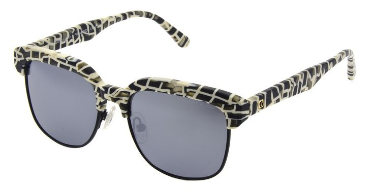 Zoobug -CLUBMASTER BLACK&WHITE PATTERN with polarised silver mirrored lenses