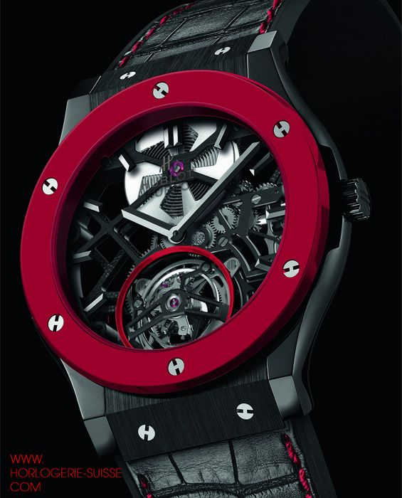 Montres Hublot 2013 - Hublot Red Ceramic - For ONLY WATCH 2013, Hublot is presenting the World Premiere of a watch made with bright red ceramic: The Red'n'Black Skeleton Tourbillon!