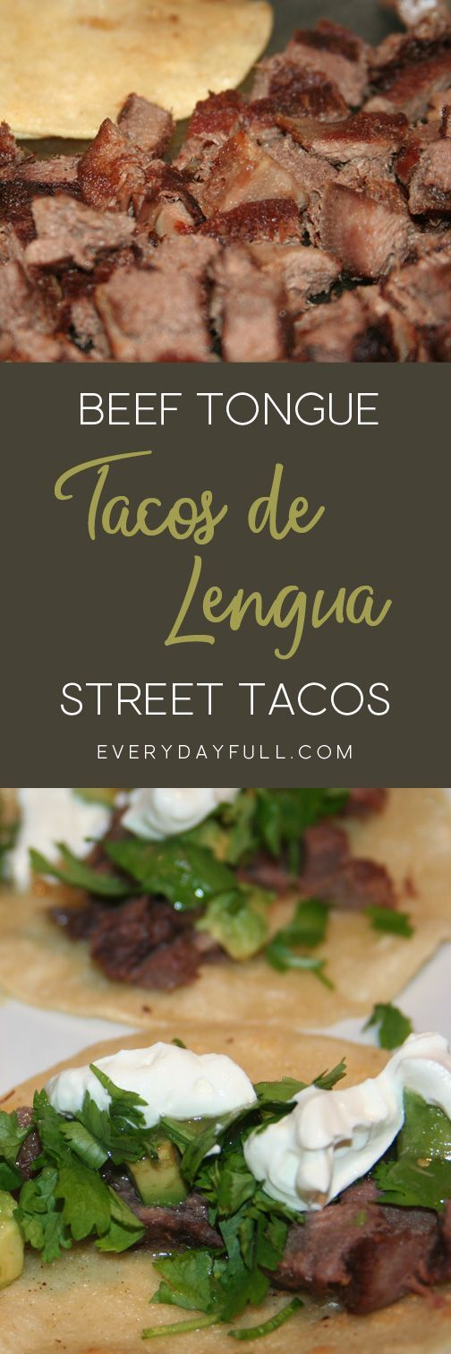 "BEEF TONGUE STREET TACOS - Or less commonly called ""Tacos de Lengua"", you'll never know you're eating tongue, promise! Amazing on corn tortillas or wrapped, burrito style, in a homemade sourdough tortilla. #tacos #beef #tongue #dinnerrecipes"