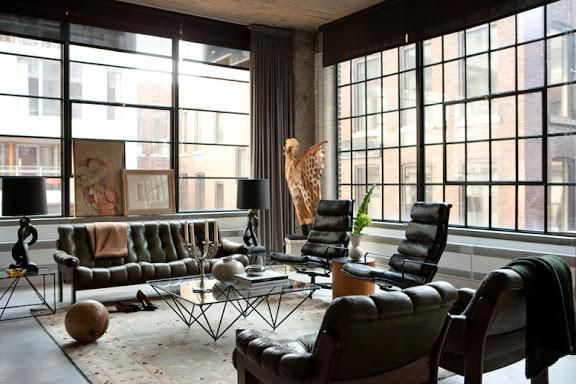 channeled leather, tufted velvet, eclectic accessories.. love this space.