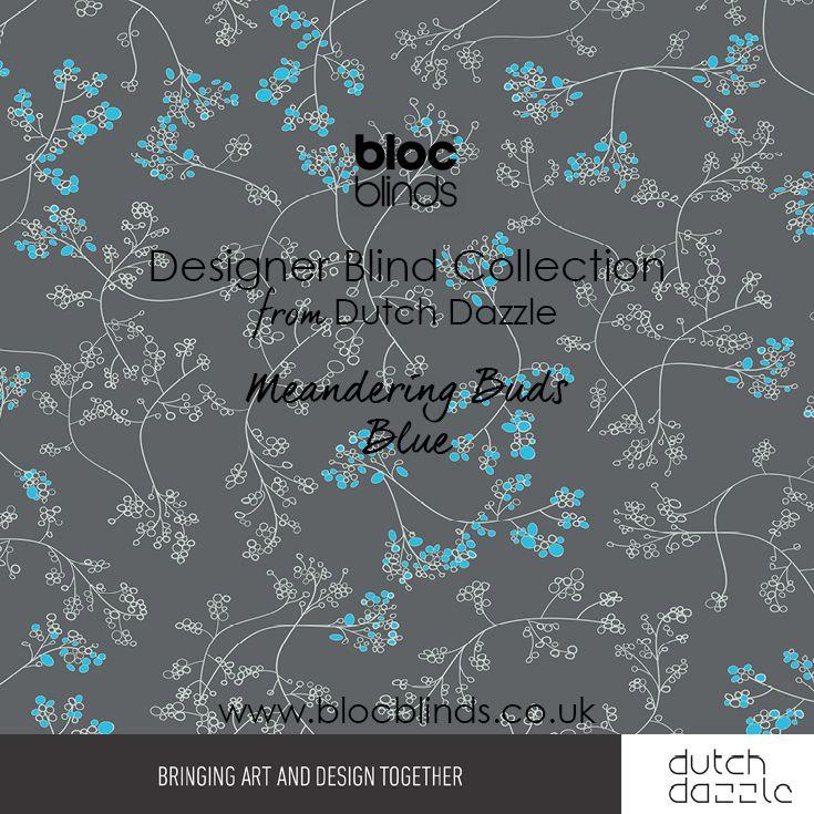 'Meandering Buds Blue' Designer Blind Fabric. Order Made to Measure Designer Blinds Online. Made in the UK. Award Winning Innovation. Be Inspired. www.blocblinds.co.uk