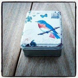 Tinnen doosje vogel - bird box