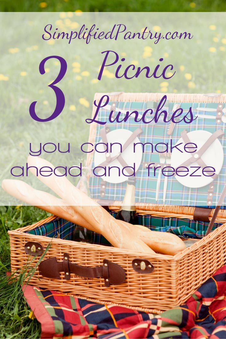 3 Picnic Lunches You Can Make Ahead and Freeze--take dinner on the road with these delicious recipes.