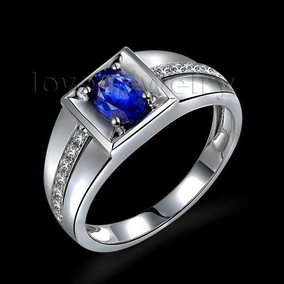 fashion men sapphire ring in 18kt white gold,natural diamond sapphire mens ring oval4x6mm wu292