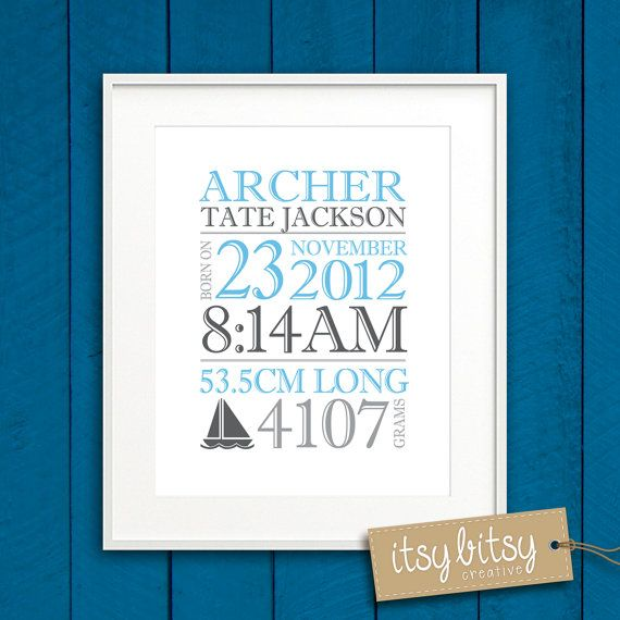 PRINTABLE personalized birth print baby name by ItsyBitsyCreative, $16.00