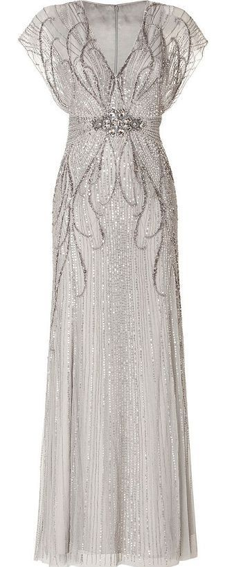 Silver long evening dress, I think this would be a gorgeous wedding gown for a 20's themed wedding,
