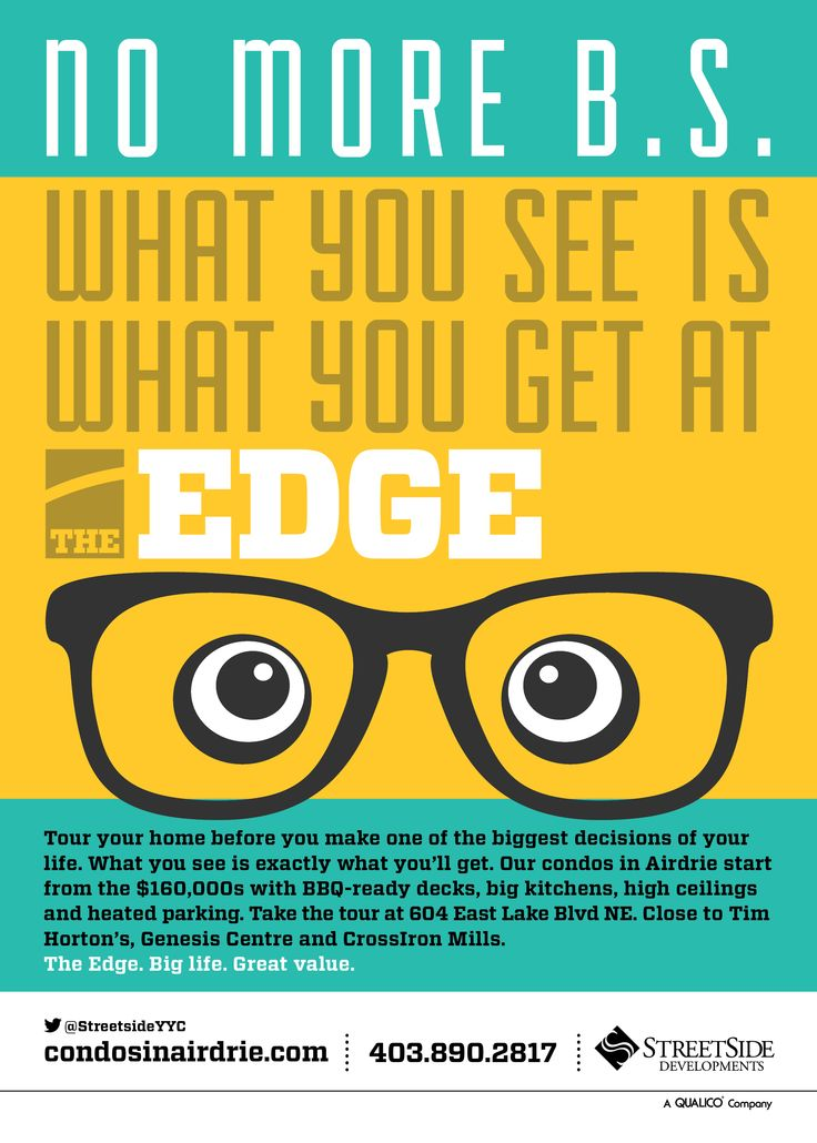 Unused spec ad for The Edge by Streetside Developments.