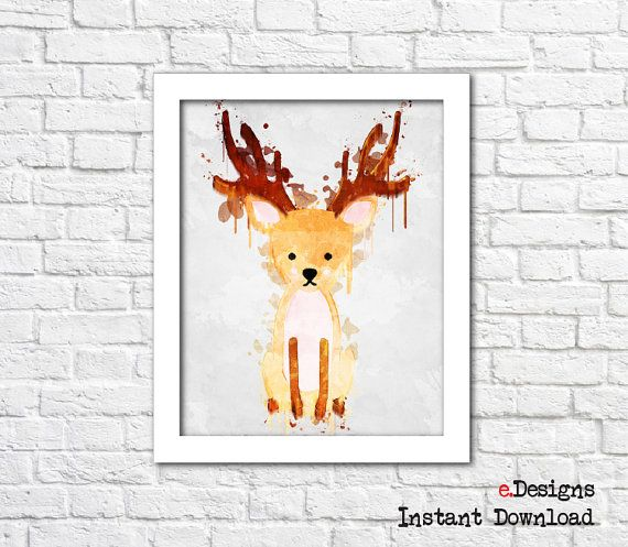 Printable Kids Poster Deer Watercolor Woodland Animal by eDesignss
