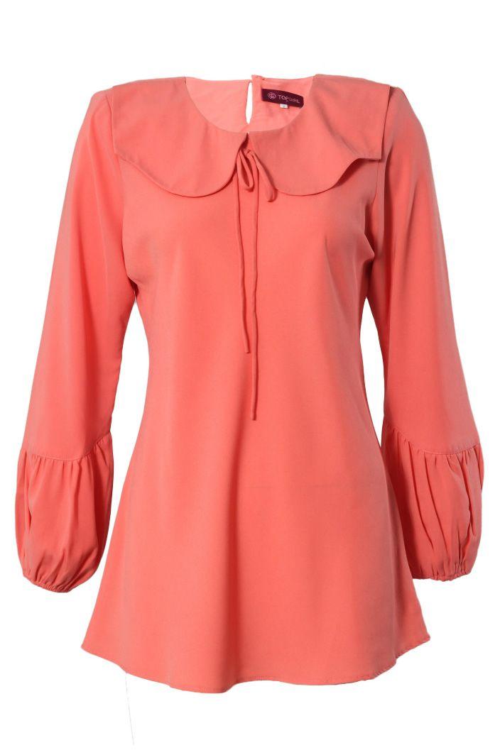 Collared Ribbon Blouse - Muslimah Fashion