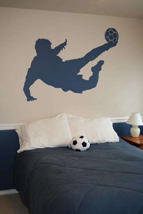 Silhouette soccer kick decal.