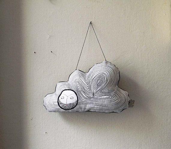 PRÊT à se transporter, nuage artistique, ornement Textile noir et blanc, decoration murale, pépinière Decor, Decor moderne, nuage Decor, souples, décor à la maison