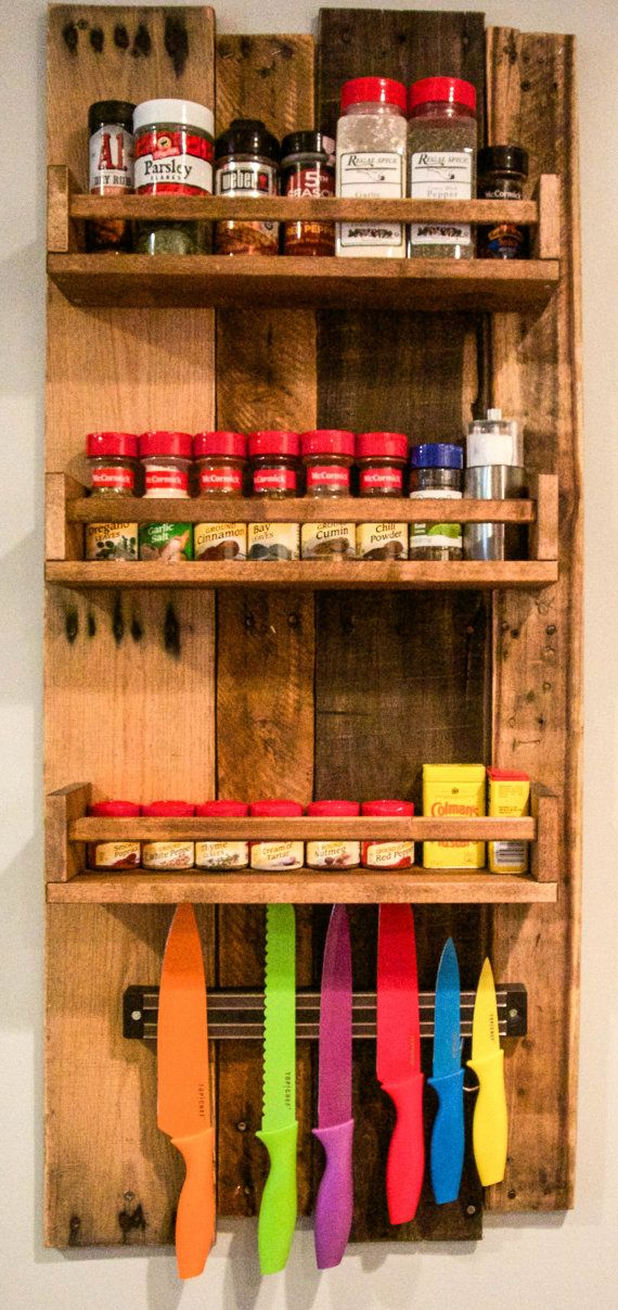 Spice Rack Spice Rack, Rustic Spice Rack With 3 Shelves, Kitchenu2026 Magnetic Spice  Racks Magnetic Spice Jars