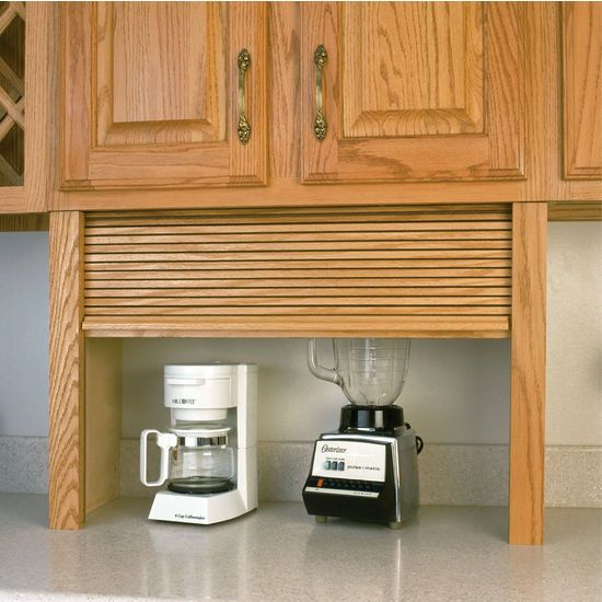 Appliance garage wood tambour kitchen straight appliance for Wood veneer garage doors