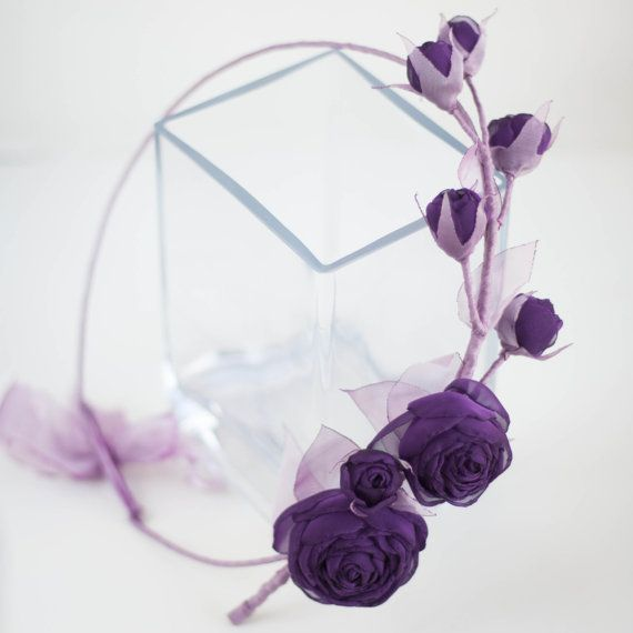 Bruids bloem kroon met paarse stof rozen van ZojkaBotanica op Etsy