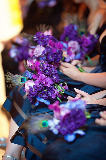 purple, blue & peacock bridesmaids' bouquets