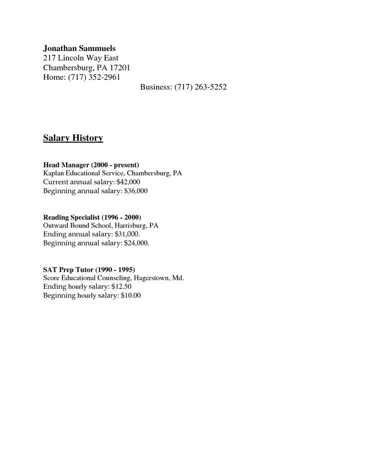 salary history letter format | Salary History