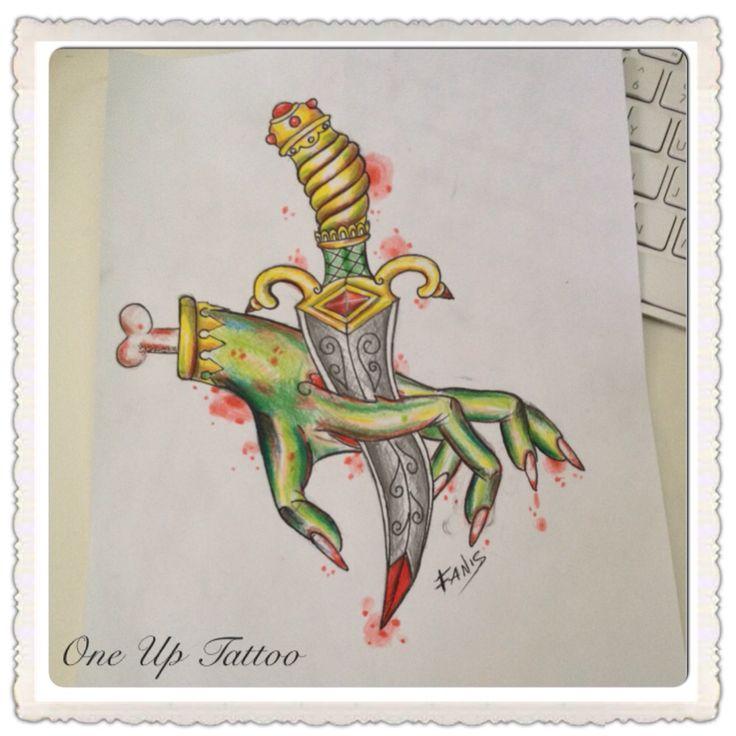 Knife tattoo sketch zombie hand